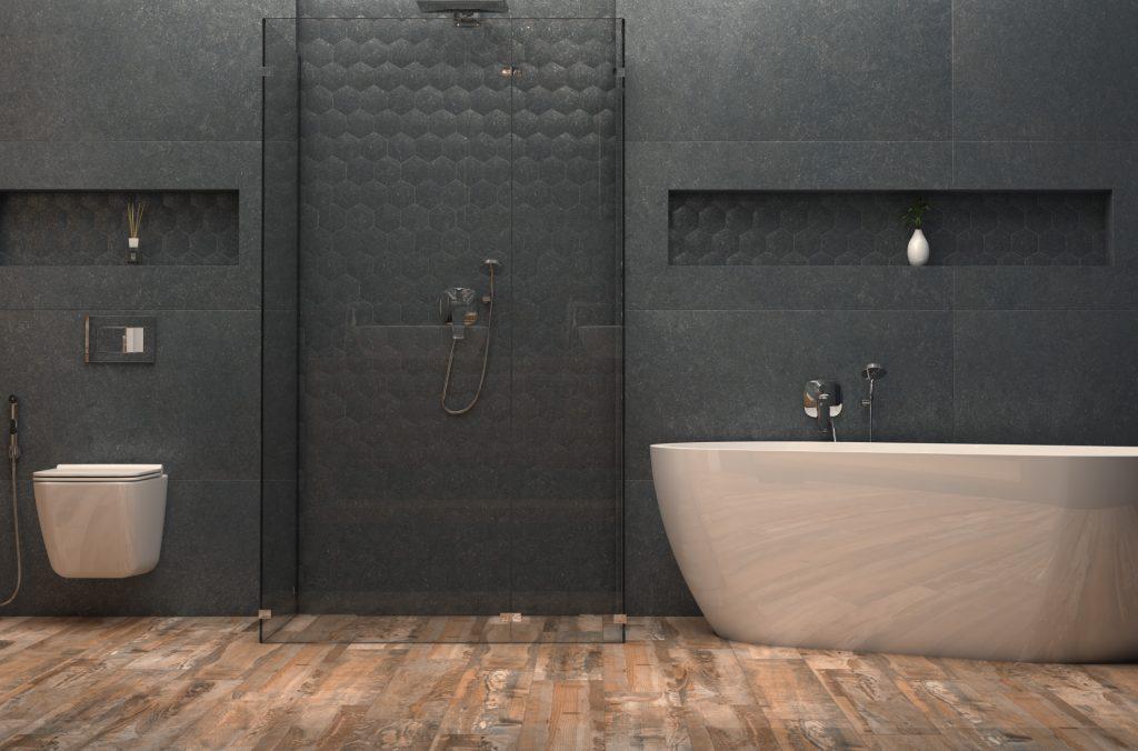 Общий вид 3D-визуализация интерьера ванной комнаты для ТМ Estima © 3DADDY STUDIO