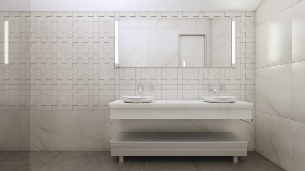 3D-визуализация плитки в ванной комнате для ТМ Estima, умывальник, © 3DADDY STUDIO