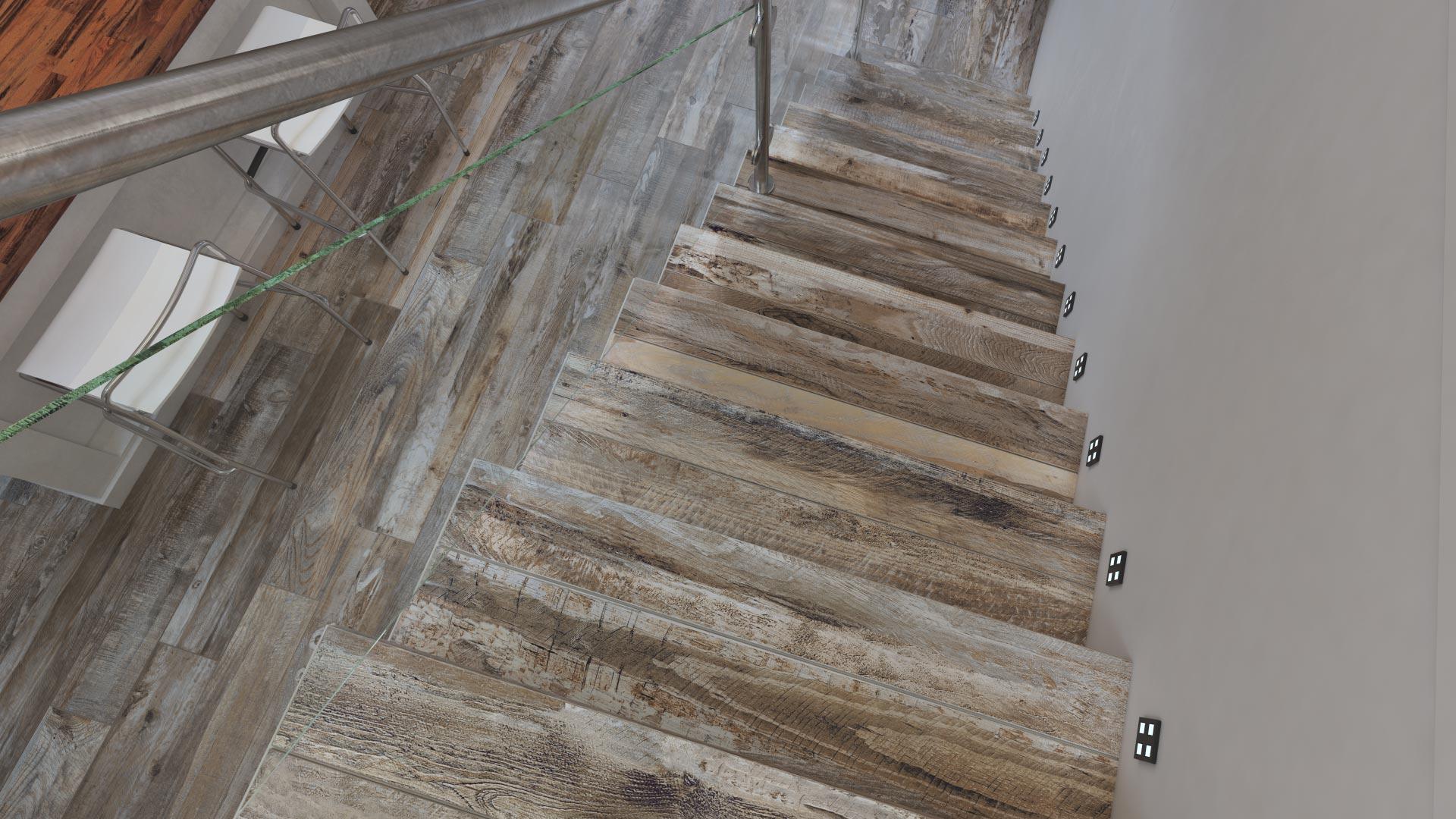 3D-визуализация интерьера жилой комнаты для ТМ Estima, лестница © 3DADDY STUDIO