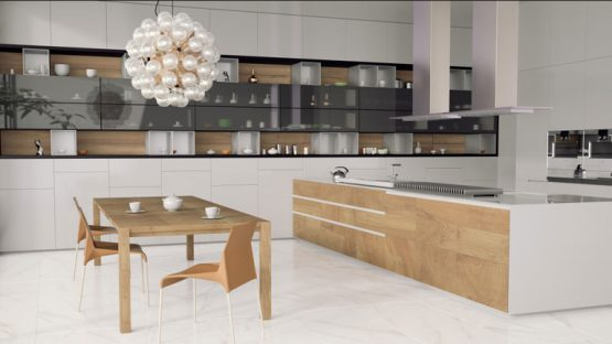 3D-визуализация коллекции IDEAL «Estima» для кухни-студии с обеденной зоной © 3DADDY STUDIO