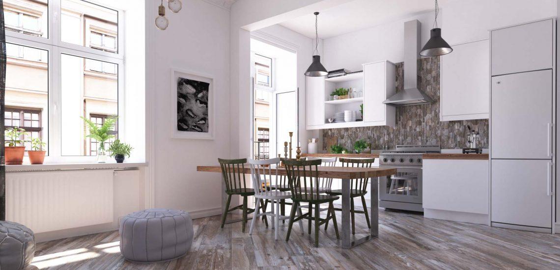 Визуализация интерьера квартиры с керамогранитной плиткой Estima