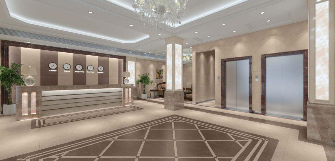 3D-визуализация плитки в холле отеля для производителя керамогранита Estima, общий вид © 3DADDY STUDIO